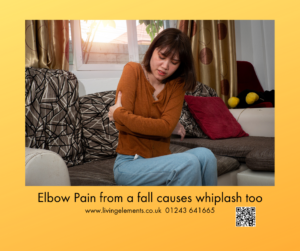 Fall on an elbow results in whiplash injury